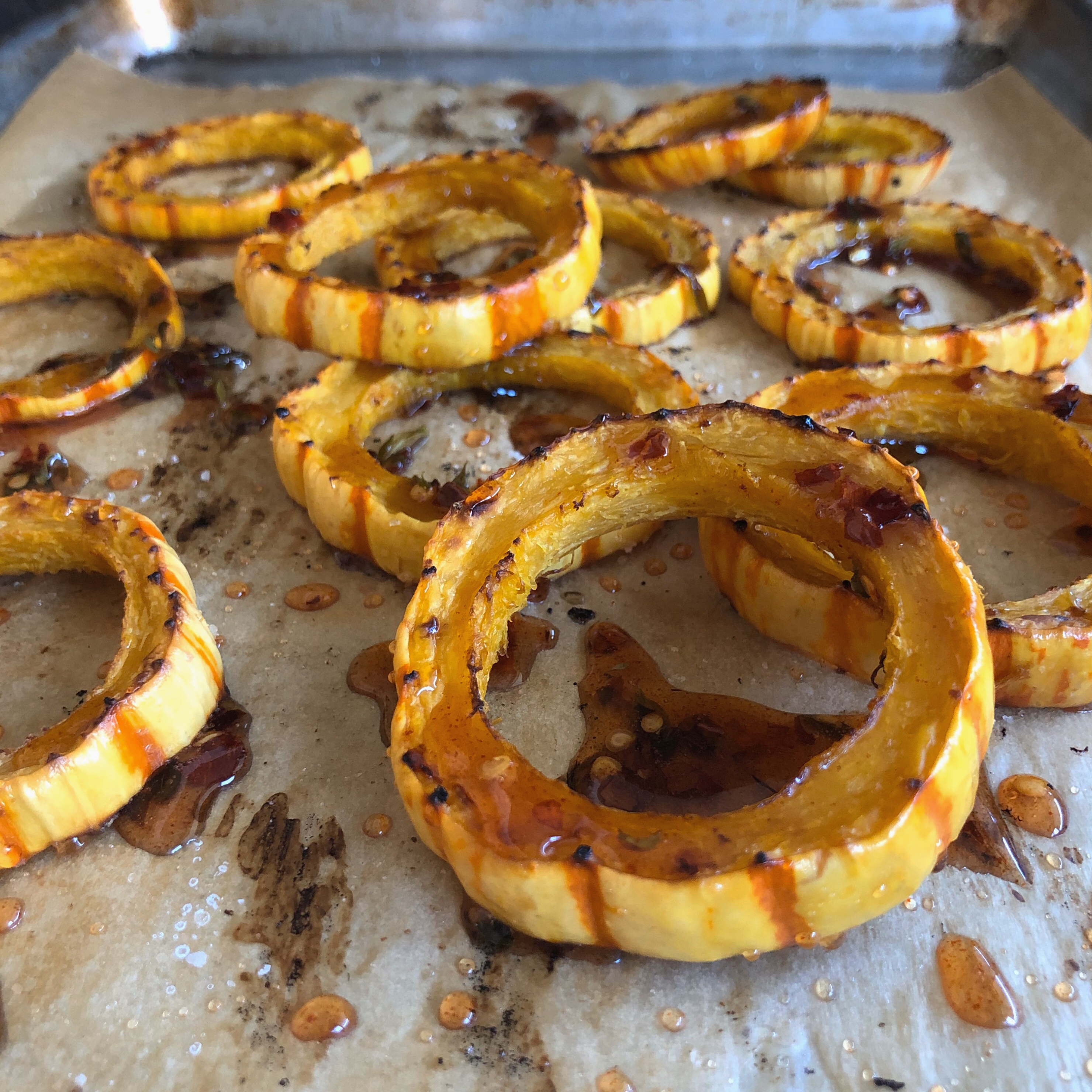 Roasted Delicata Squash with Hot Honey