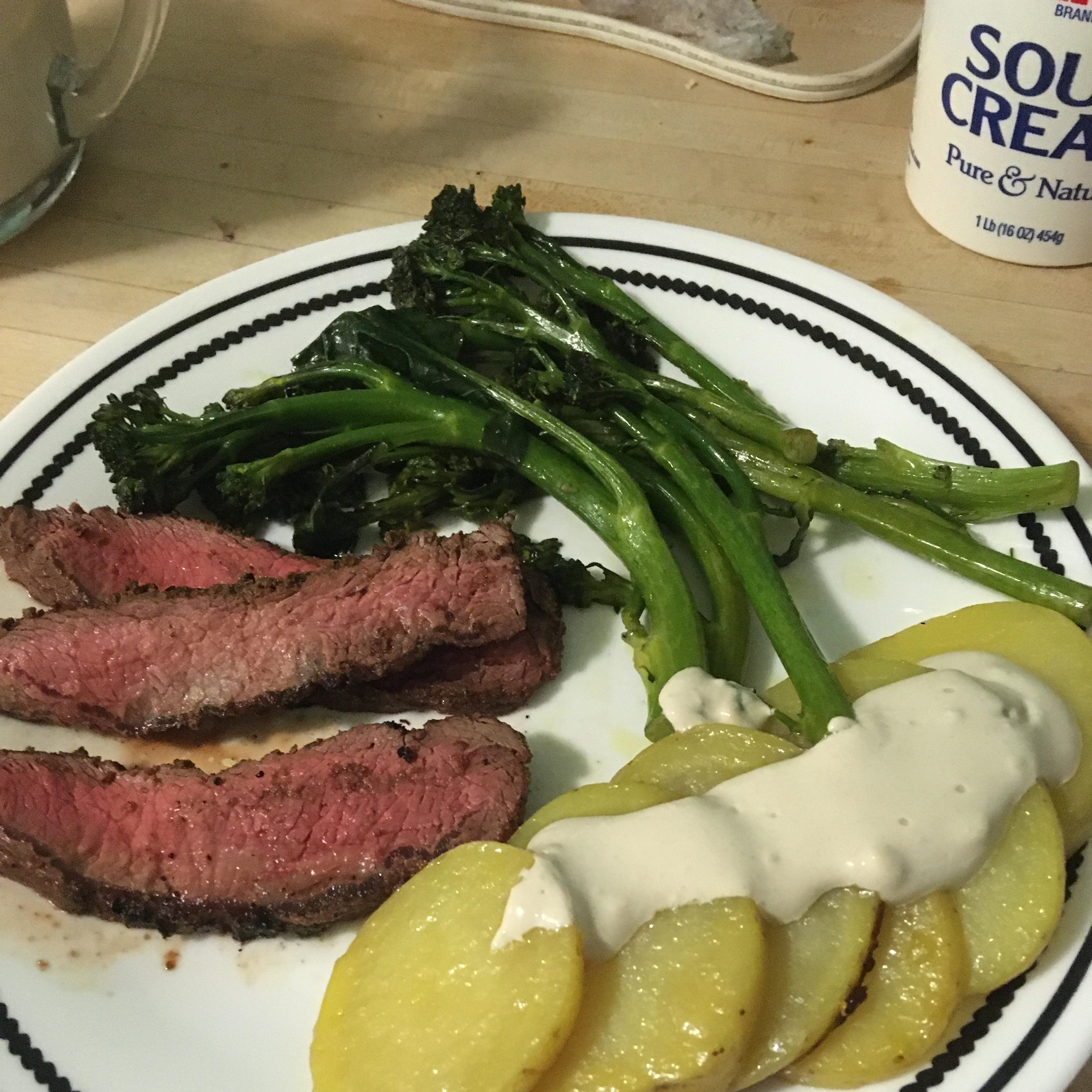 Grilled Steak with Blue Cheese, Potatoes, and Broccolini PastaMiles