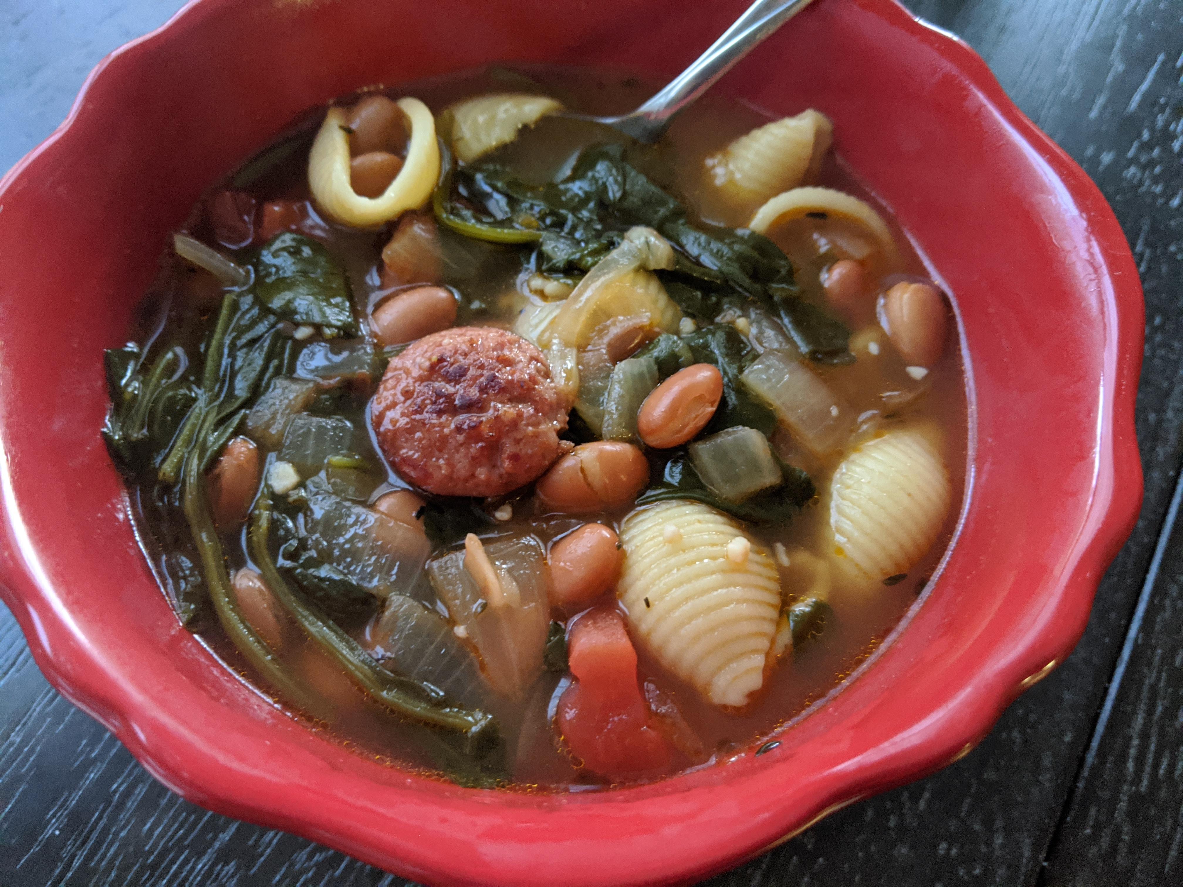 Smoked Sausage and Tuscan White Bean Soup Rebekah Rose Hills