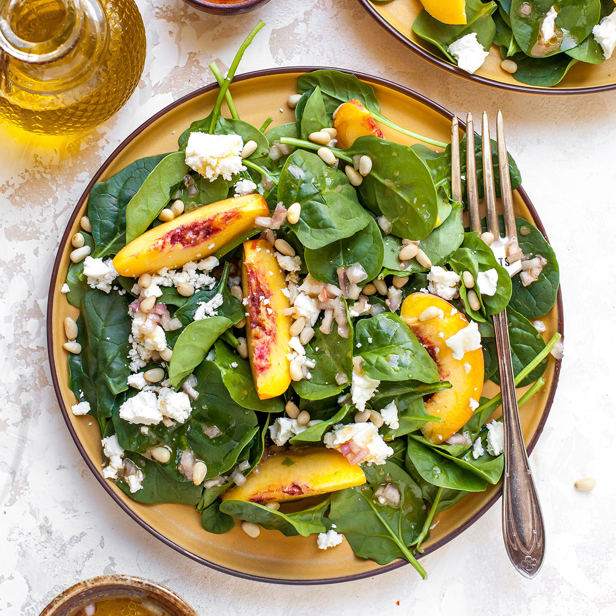 Peach Spinach Salad With Feta Recipe Eatingwell
