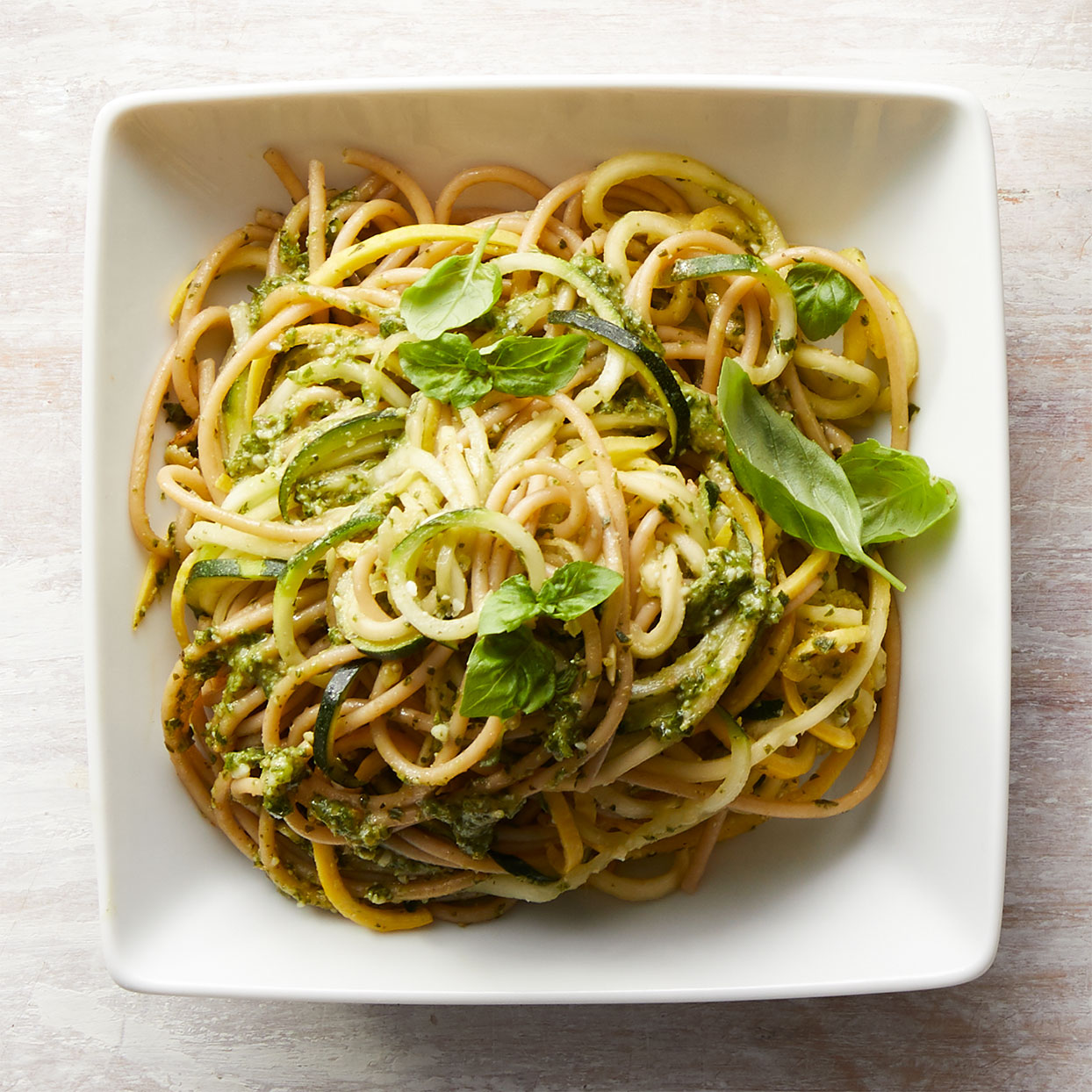 Basil is the backbone of this vibrant no-cook basil-walnut pesto sauce. Toss in some leftover roast chicken or pork with these zucchini noodles for a heartier meal. Source: Diabetic Living Magazine, Spring 2020