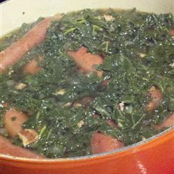 North German Gruenkohl (Kale) and Sausage LynJudd
