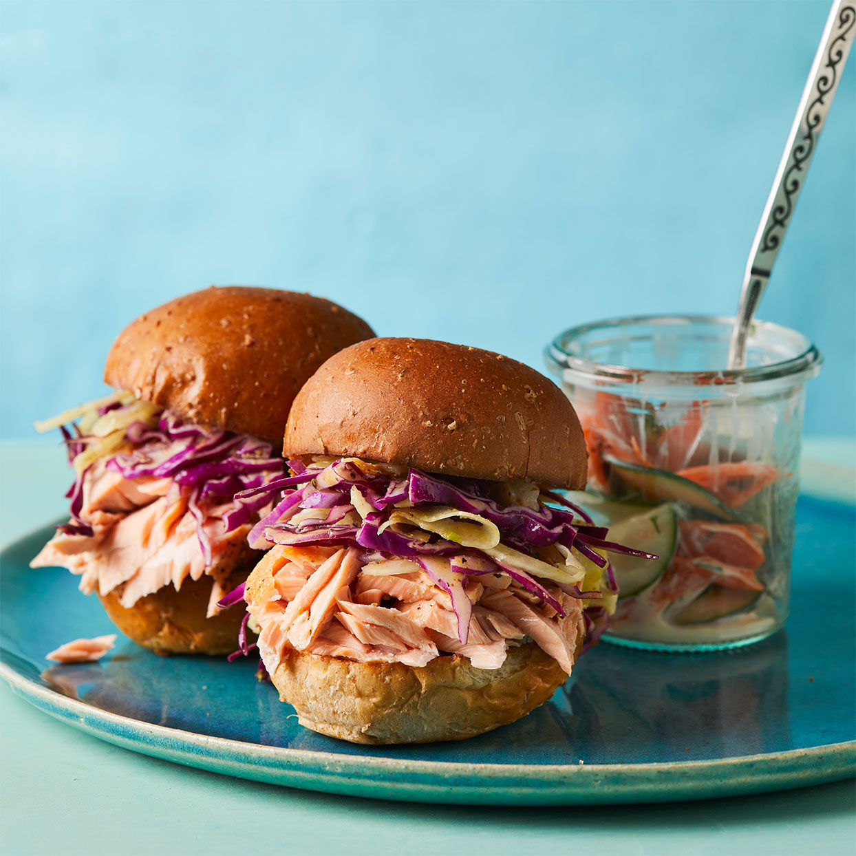 The deep purple of the cabbage slaw would be enough to liven up these salmon sliders, but we add even more color with a simple carrot and cucumber side salad. Source: Diabetic Living Magazine, Spring 2020