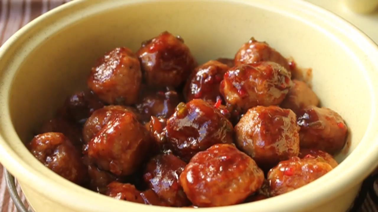 Turkey Cocktail Meatballs with Orange Cranberry Glaze