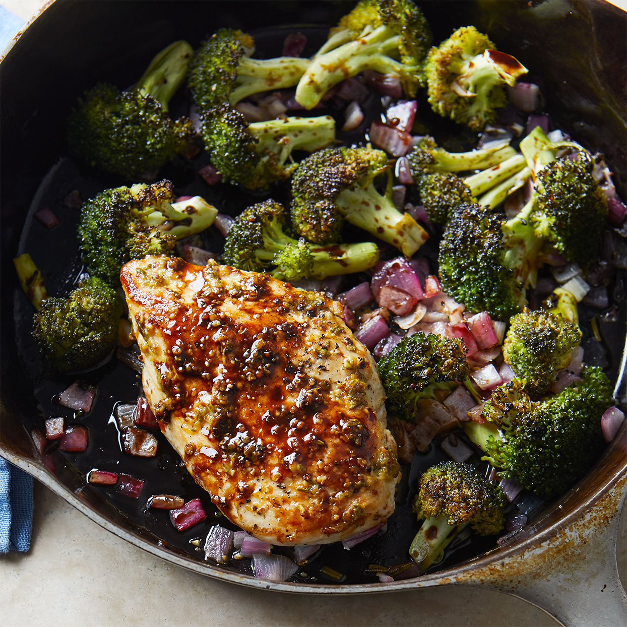 The one-two punch of searing and roasting results in this perfectly browned, moist, and tender skillet chicken recipe.
