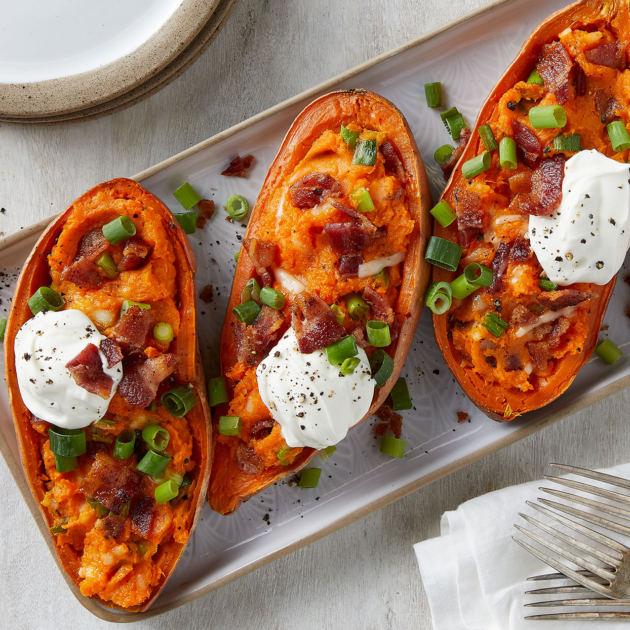 Loaded Sweet Potatoes Recipe Eatingwell