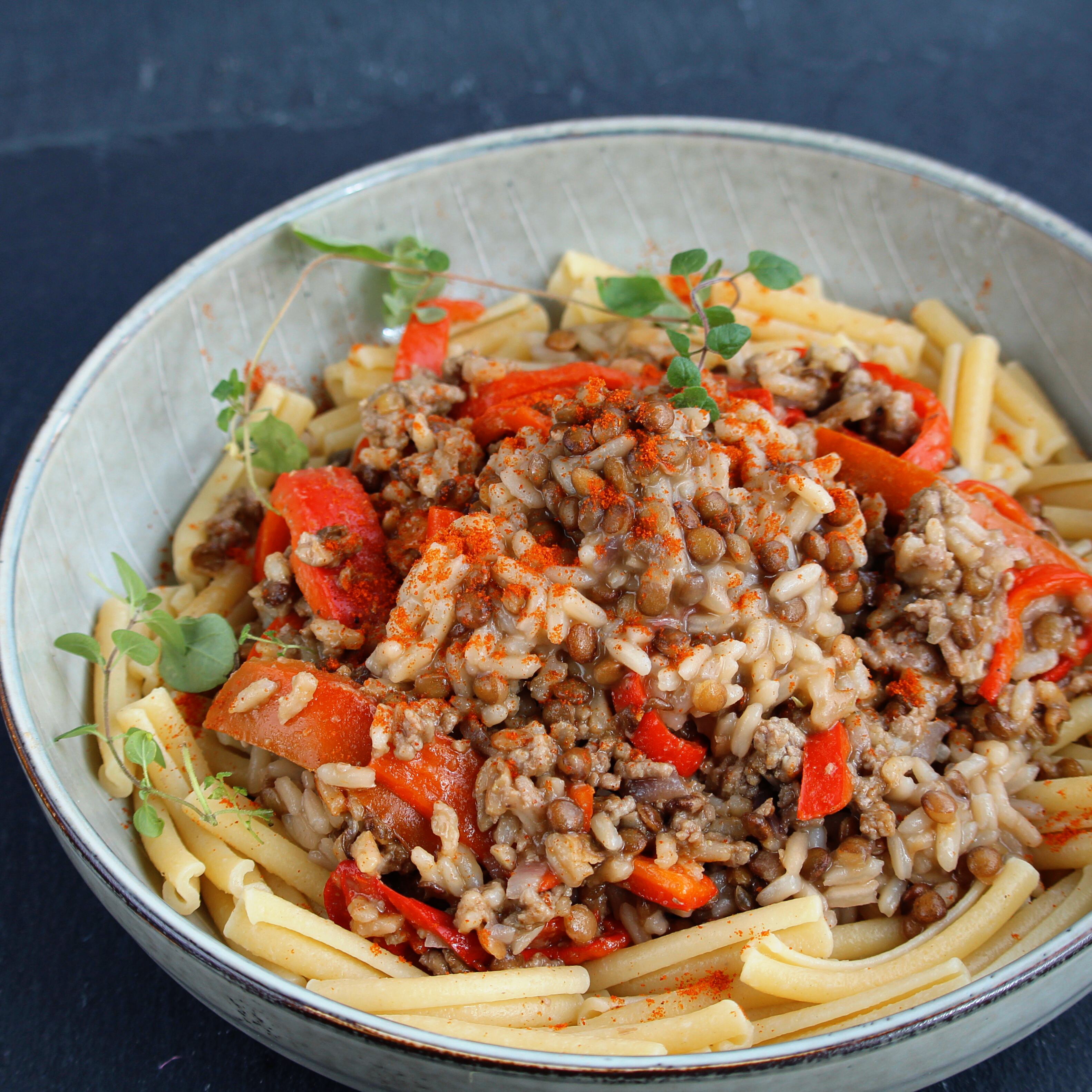 Lentils with Ground Beef and Rice
