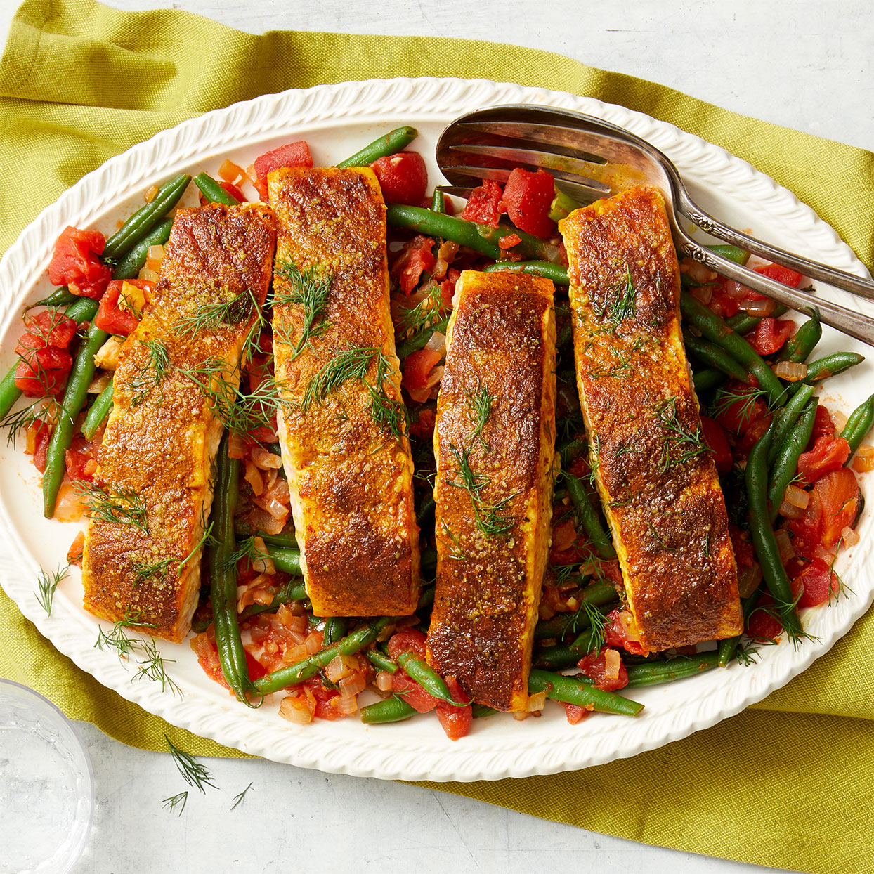 Spice-Seared Salmon with Greek-Style Green Beans Amy Riolo