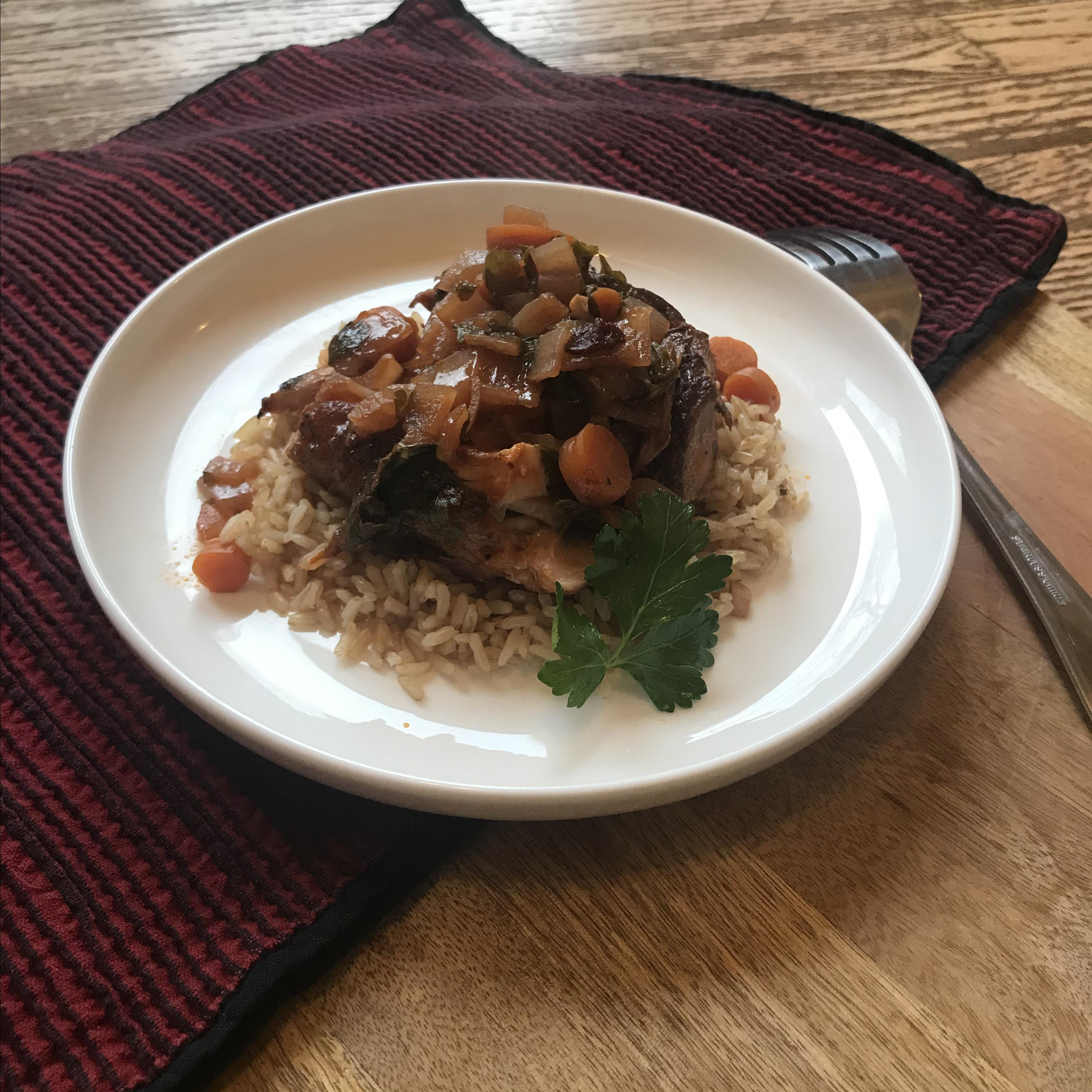 """This is a tasty, quick prep meal of braised pork that can be used in versatile ways,"" says Alison Willette. ""It can be assembled quickly in the morning or the night before for a slow cooker meal. You can add potatoes or other veggies for a stew, or reserve the liquid to pour over rice. My kids love the leftover liquids turned into gravy for mashed potatoes or mashed cauliflower."""