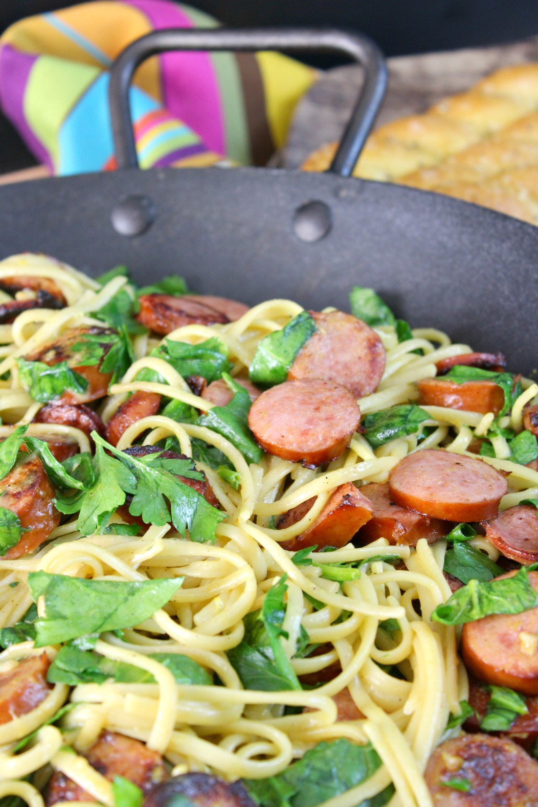 Linguine with Hillshire Farm® Smoked Sausage and Greens