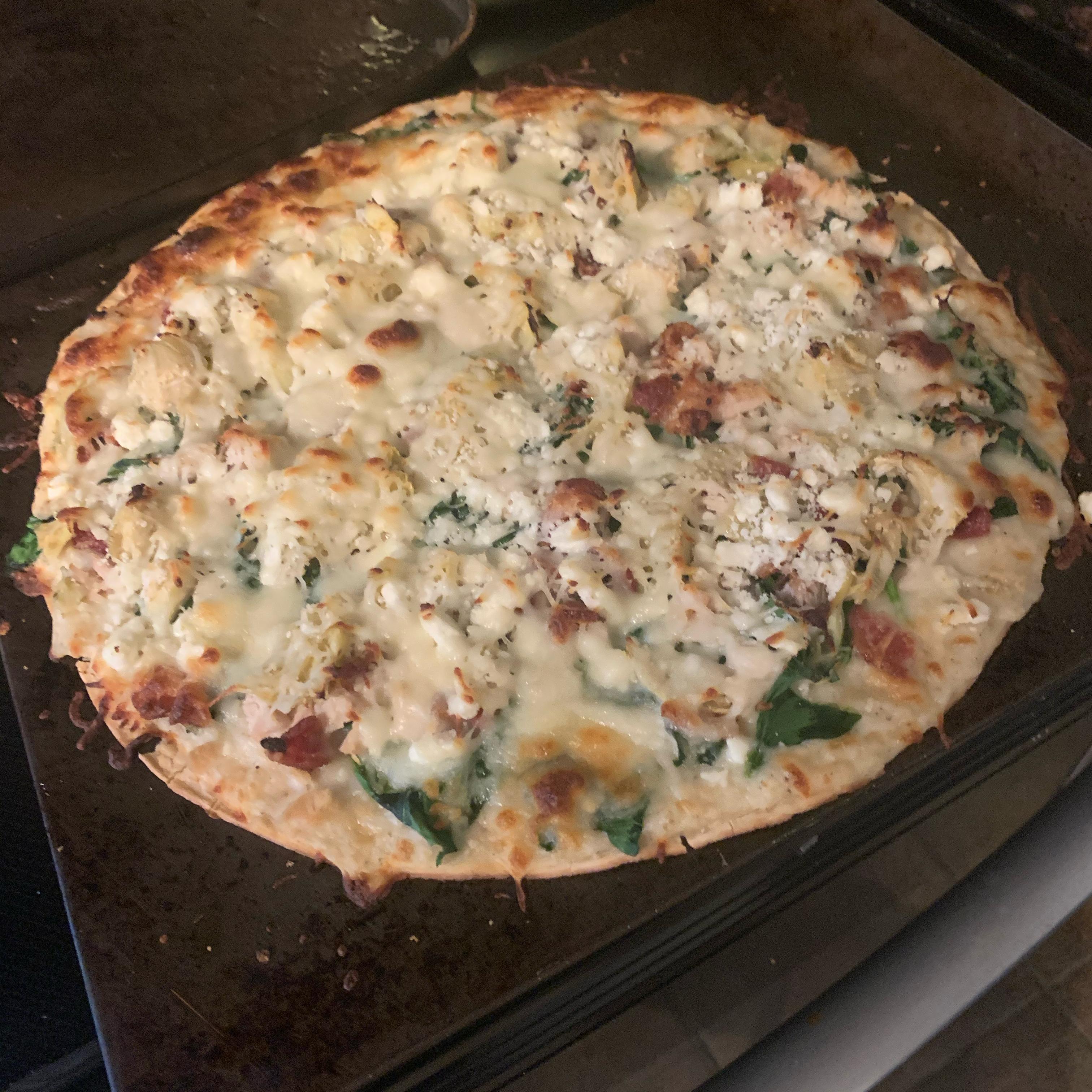 Bacon Spinach Artichoke Pizza sphillips
