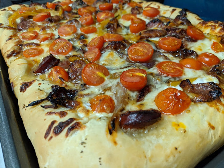 Sheet Pan Pizza with Hillshire Farm® Smoked Sausage & Burst Cherry Tomatoes Rebekah Rose Hills