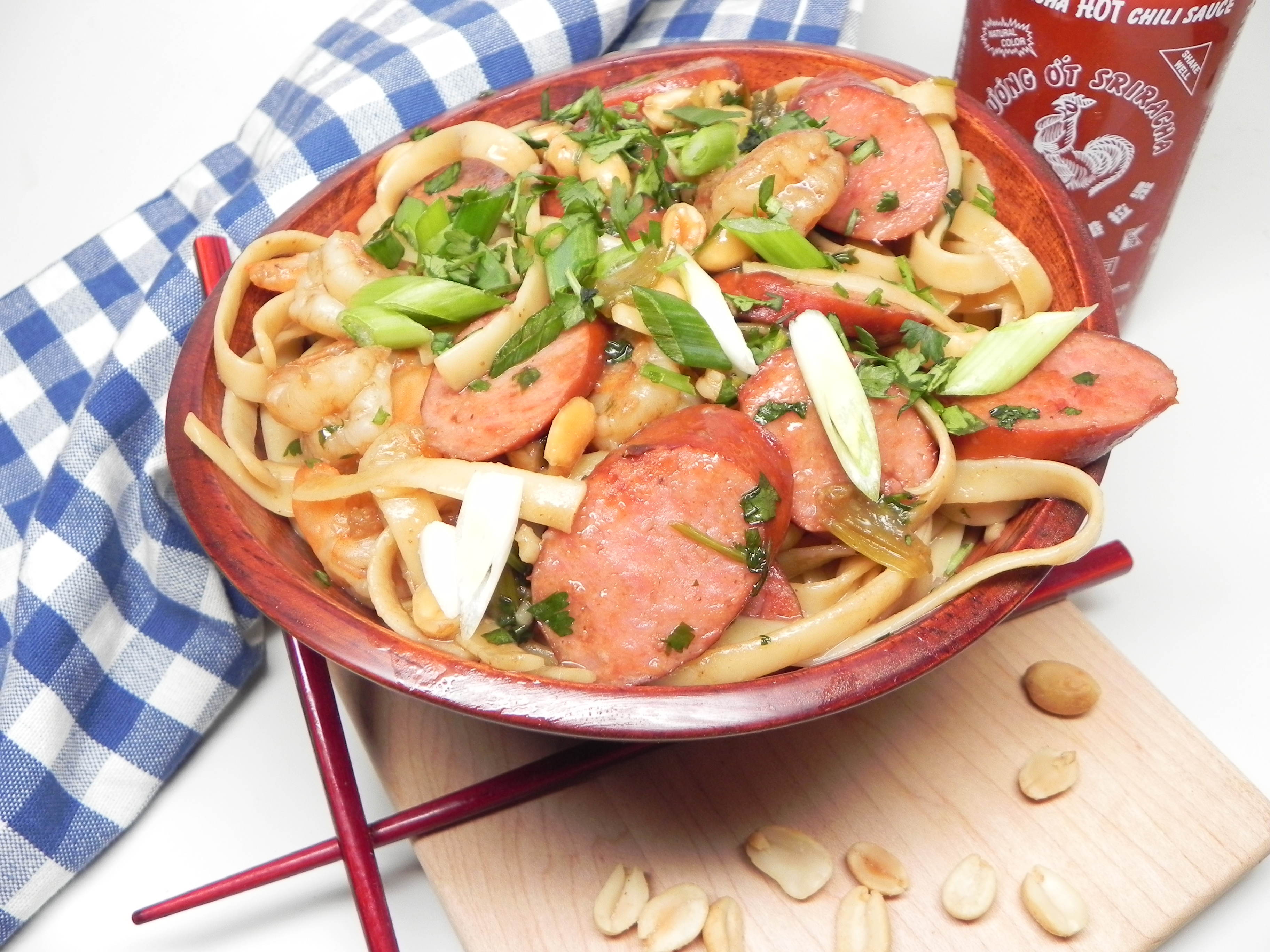 Easy Pad Thai with Shrimp and Hillshire Farm® Smoked Sausage Soup Loving Nicole