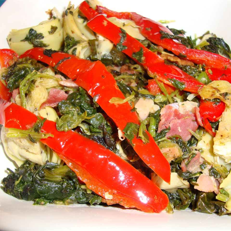 Colorful Spinach and Prosciutto Side pelicangal