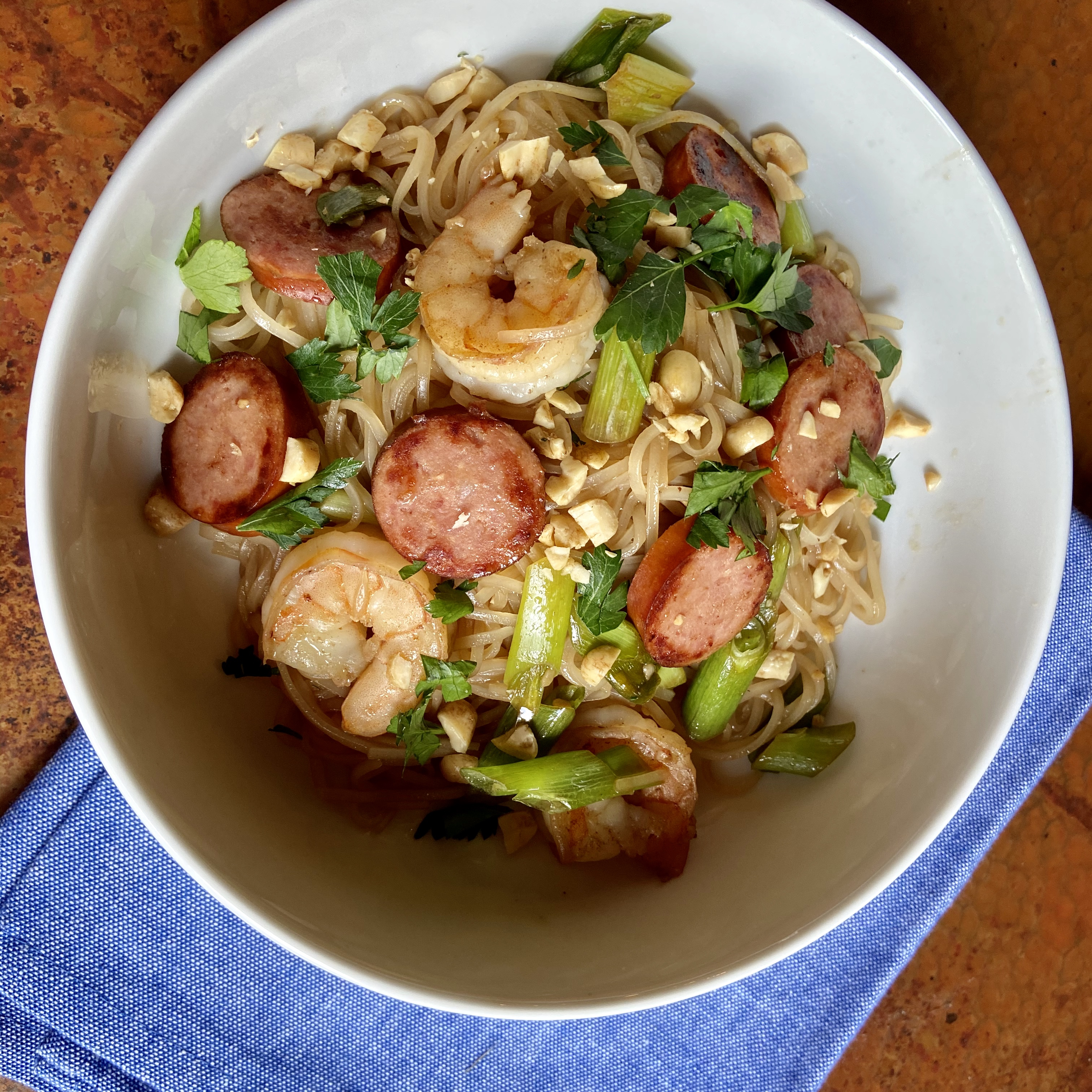 Easy Pad Thai with Shrimp and Hillshire Farm® Smoked Sausage Staci
