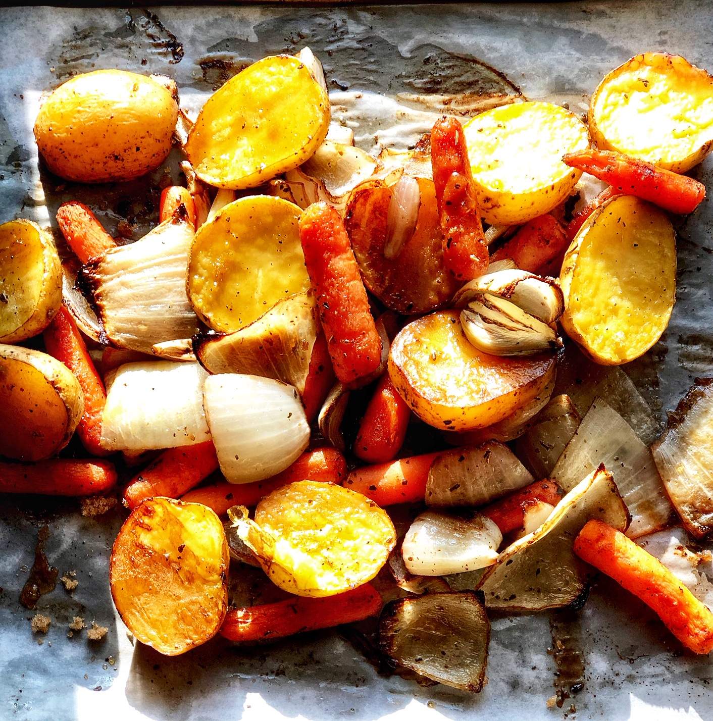 Roasted Potatoes, Onions, and Carrots with Brown Sugar and Balsamic Vinegar