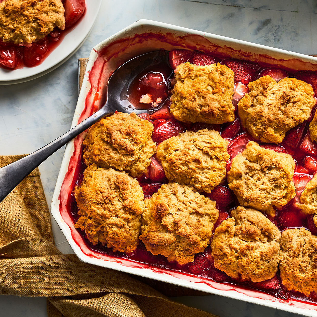 In-season strawberries shine in this simple strawberry cobbler recipe. The biscuits on top are light and fluffy, with crispy tops and hint of sweetness. This strawberry cobbler creates the perfect amount of sauce for serving with vanilla ice cream. Source: EatingWell.com, March 2020