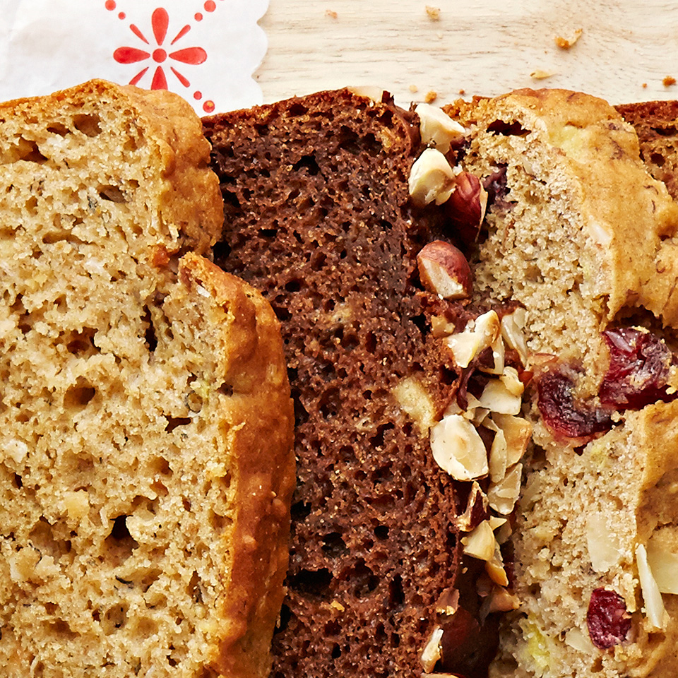 Cocoa and hazelnuts work in harmony to create a new twist on the classic banana bread in this simple recipe.