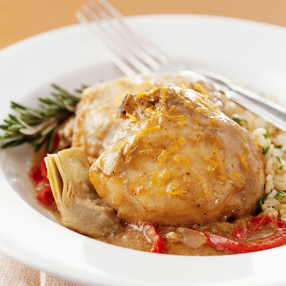 This slow-cooker chicken makes a healthful yet festive entree. Although the 12 cloves of garlic may seem overpowering, slow-cooking mellows them and makes them tender and flavorful.