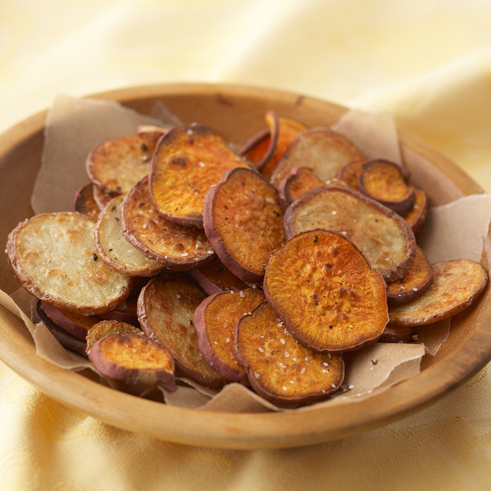 Thin slices of russet and sweet potatoes are brushed with herb-infused olive oil and baked until golden brown and crispy. Source: Diabetic Living Magazine