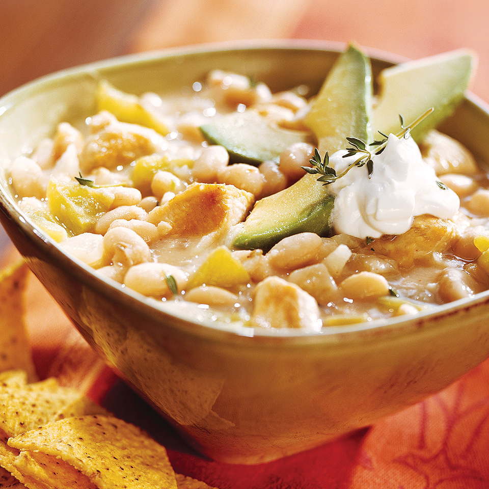 Thicken this slow-cooker chicken chili by slightly mashing the beans. Source: Diabetic Living Magazine