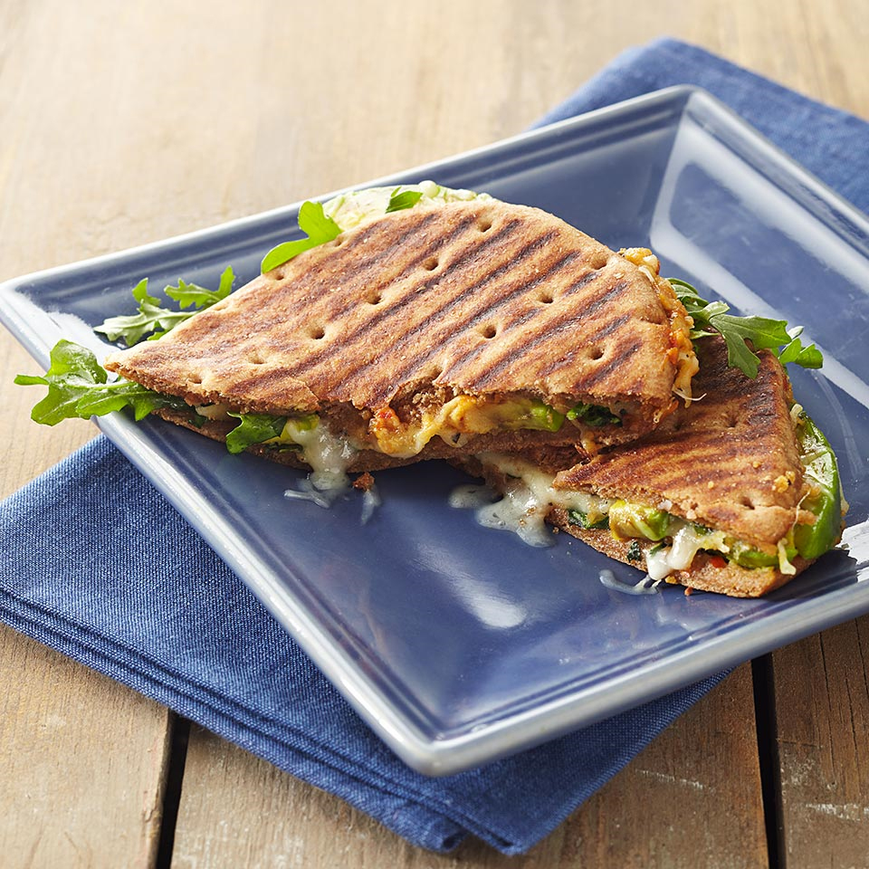 Add healthy fats, a little protein and plenty of flavor to your grilled cheese sandwich with this tasty Mediterranean-style panini recipe.