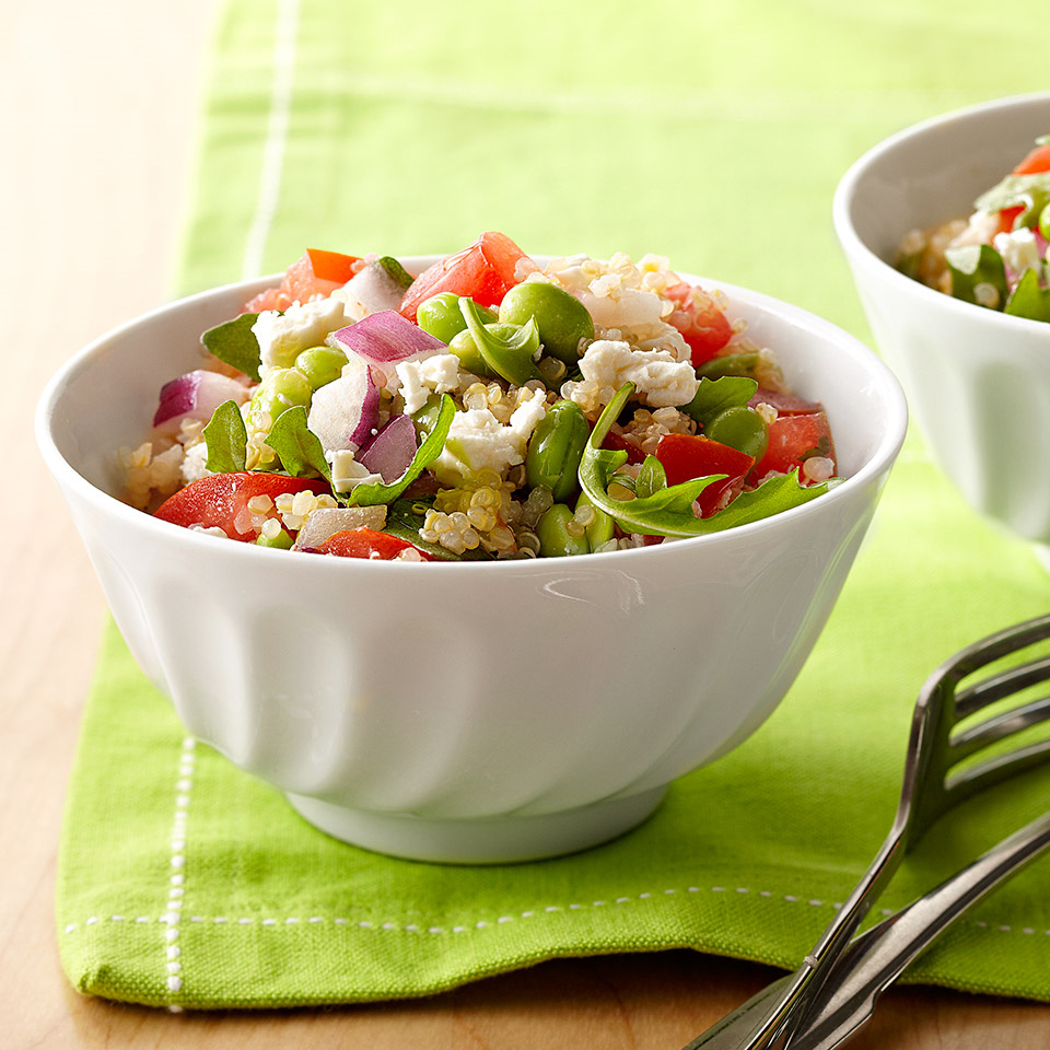 Enjoy a superfood lunch with this light and fresh soybean-and-quinoa salad.