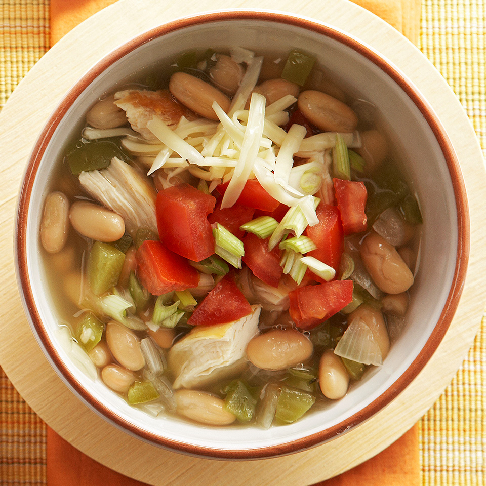 Let your slow cooker do the work for this zesty chicken chili with white kidney beans, sweet and hot peppers, and lots of herbs and spices. Source: Diabetic Living Magazine