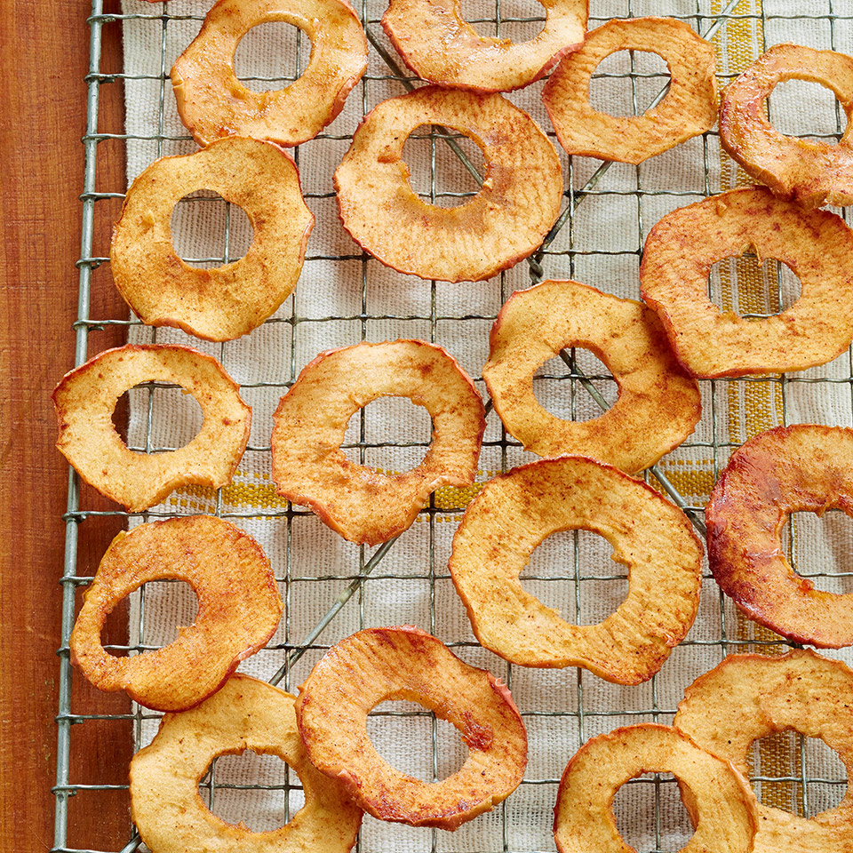 Dust thin apple slices with sugar and apple pie spice and slowly bake until crisp for this kid-pleasing snack. Source: Diabetic Living Magazine