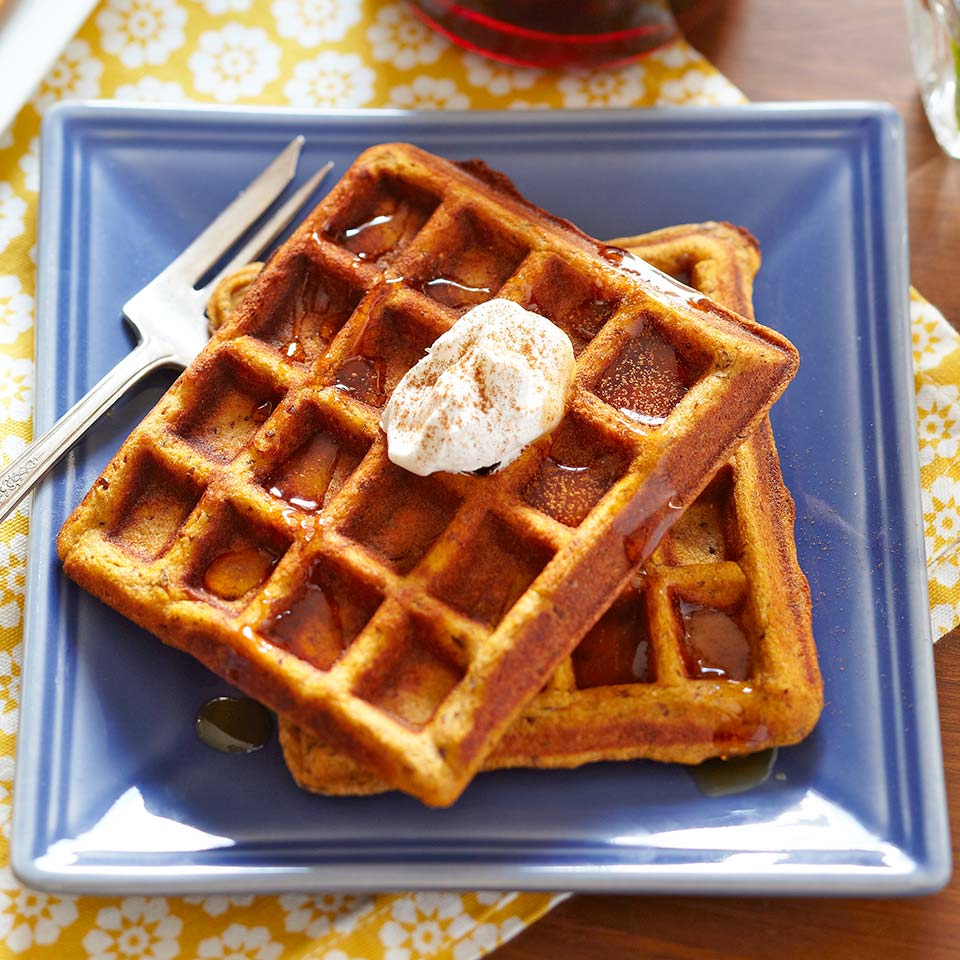 These gluten-free spiced pumpkin waffles with your choice of toppings will soon be a new family favorite. Source: Diabetic Living Magazine