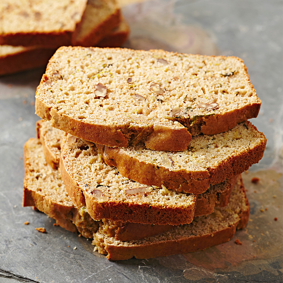 Here's a variation on classic zucchini bread with lots of spices, almond milk, Greek yogurt, and walnuts--and it's gluten free! Source: Diabetic Living Magazine