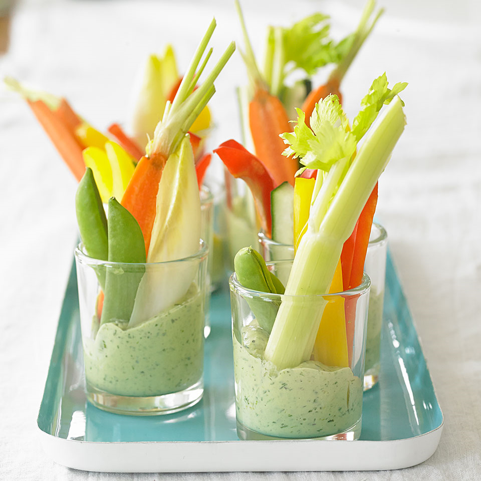 Green Goddess dip is perfect for raw veggies like cukes, celery, carrots, and more. This one is packed with fresh herbs like tarragon and parsley.