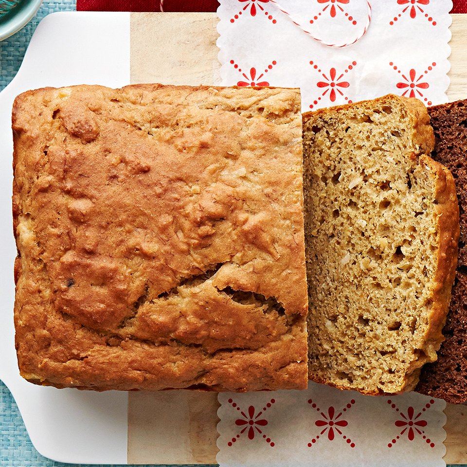 This lightened-up banana bread packs plenty of tropical flavor.