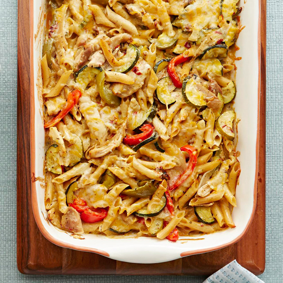 Simplify weeknight dinnertime by transforming leftover slow-cooked chicken (see associated recipe, below) into an easy, cheesy casserole. Source: Diabetic Living Magazine