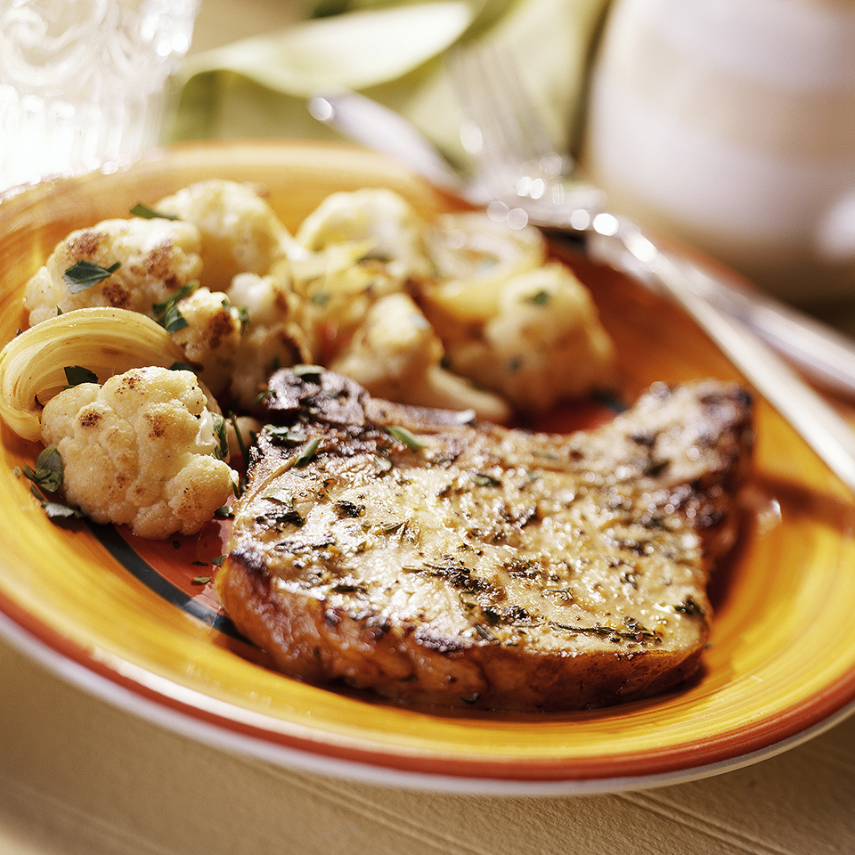 Pork Chops with Roasted Cauliflower and Onions Trusted Brands