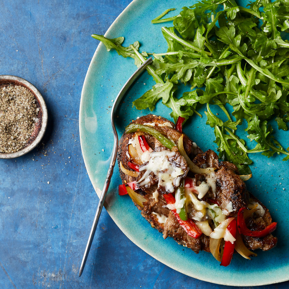 Steak & Pepper Tartines with Arugula Salad Trusted Brands