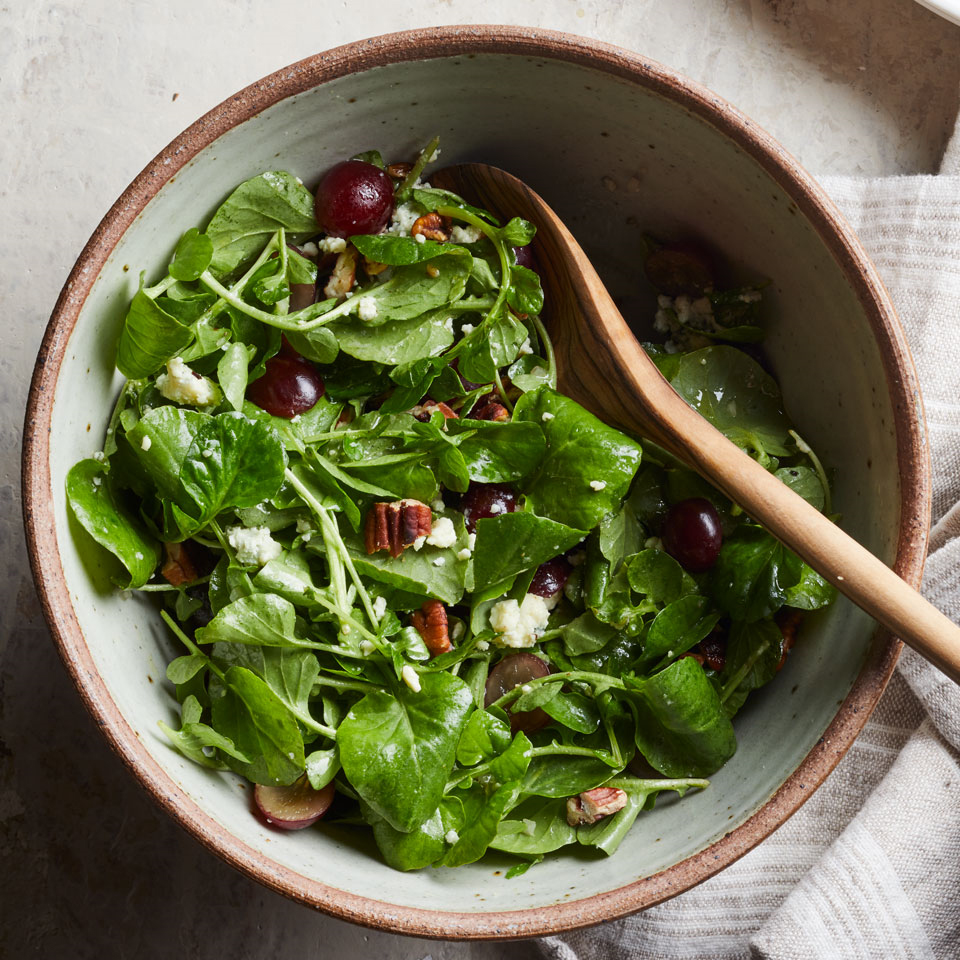 This salad formula will never let you down: toss leafy greens with fruit, cheese, nuts and a simple vinaigrette. If you can't find watercress, try substituting arugula, baby spinach or baby kale.