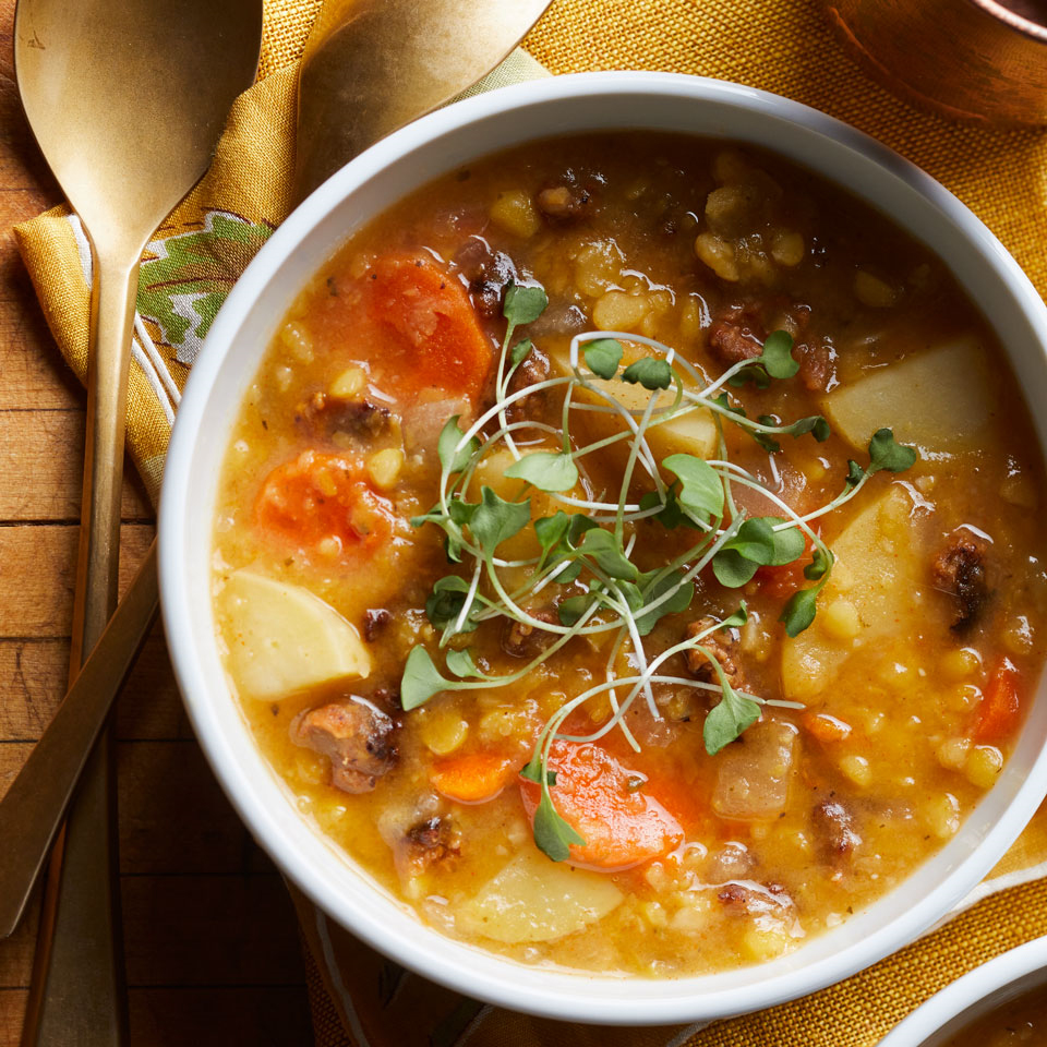 For this easy slow-cooker split pea soup, look for raw smoky, spicy chorizo. If you can't find raw chorizo, Italian sausage or merguez makes a fine substitute. Source: EatingWell Magazine, September/October 2017