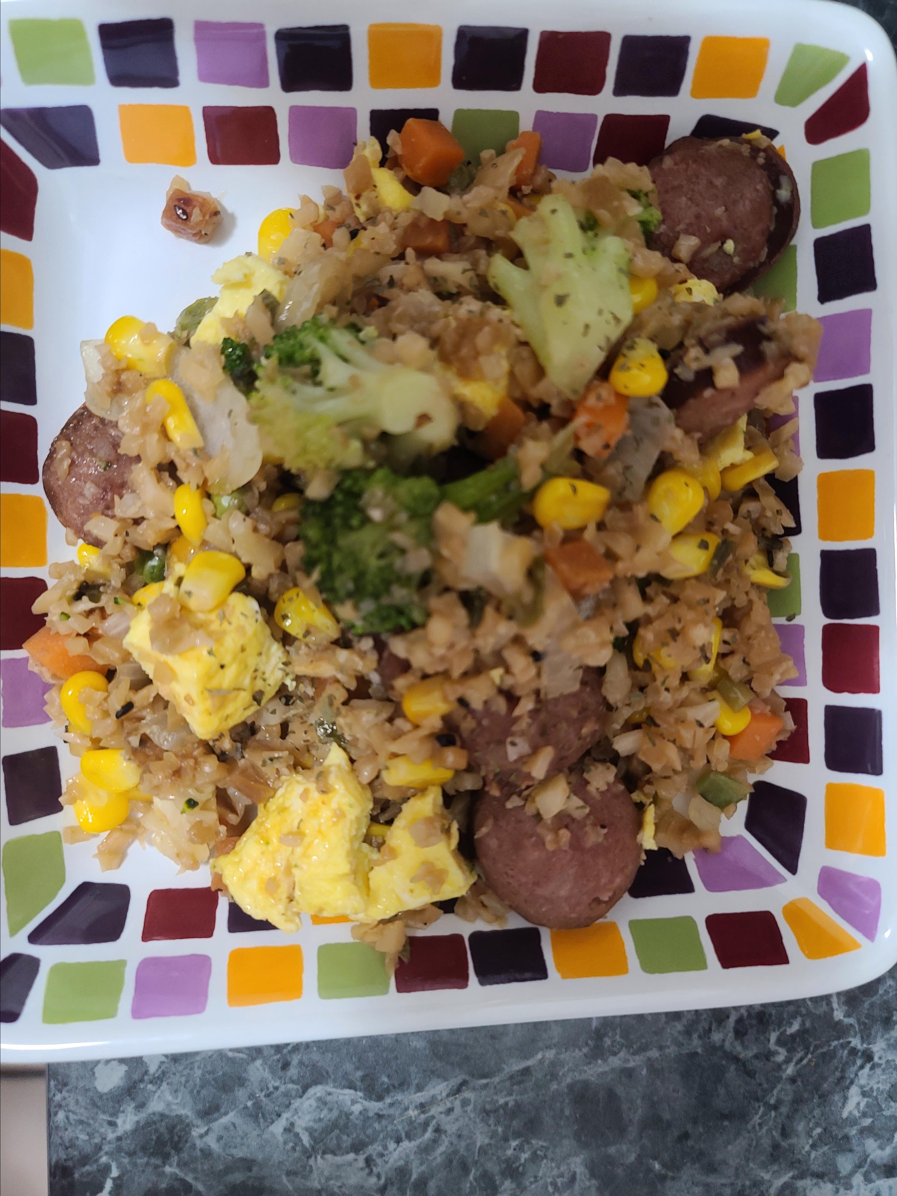 Smoked Sausage and Cauliflower Fried Rice