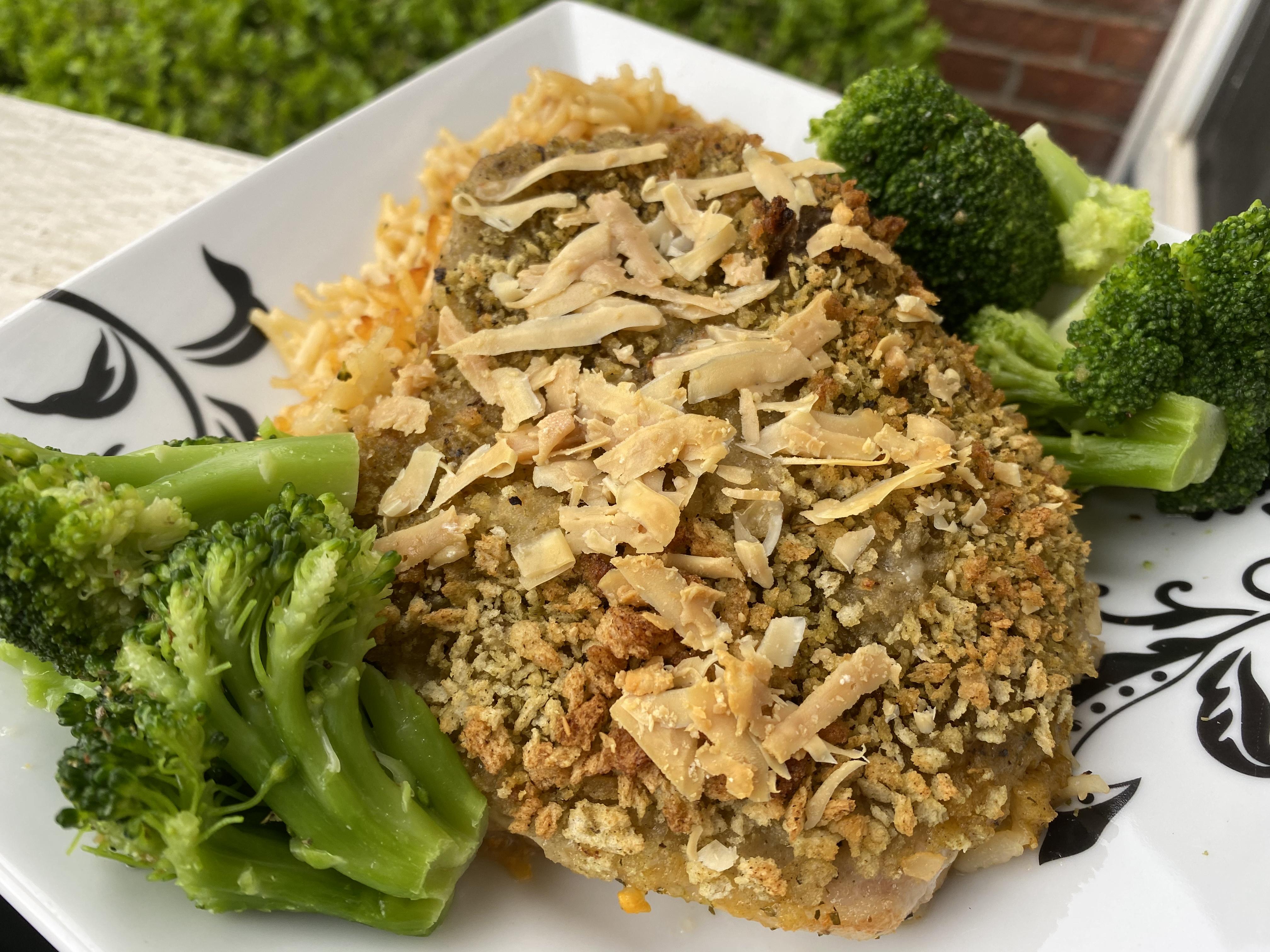 Garlic-Herb-Crusted Pork Chop Dinner for One