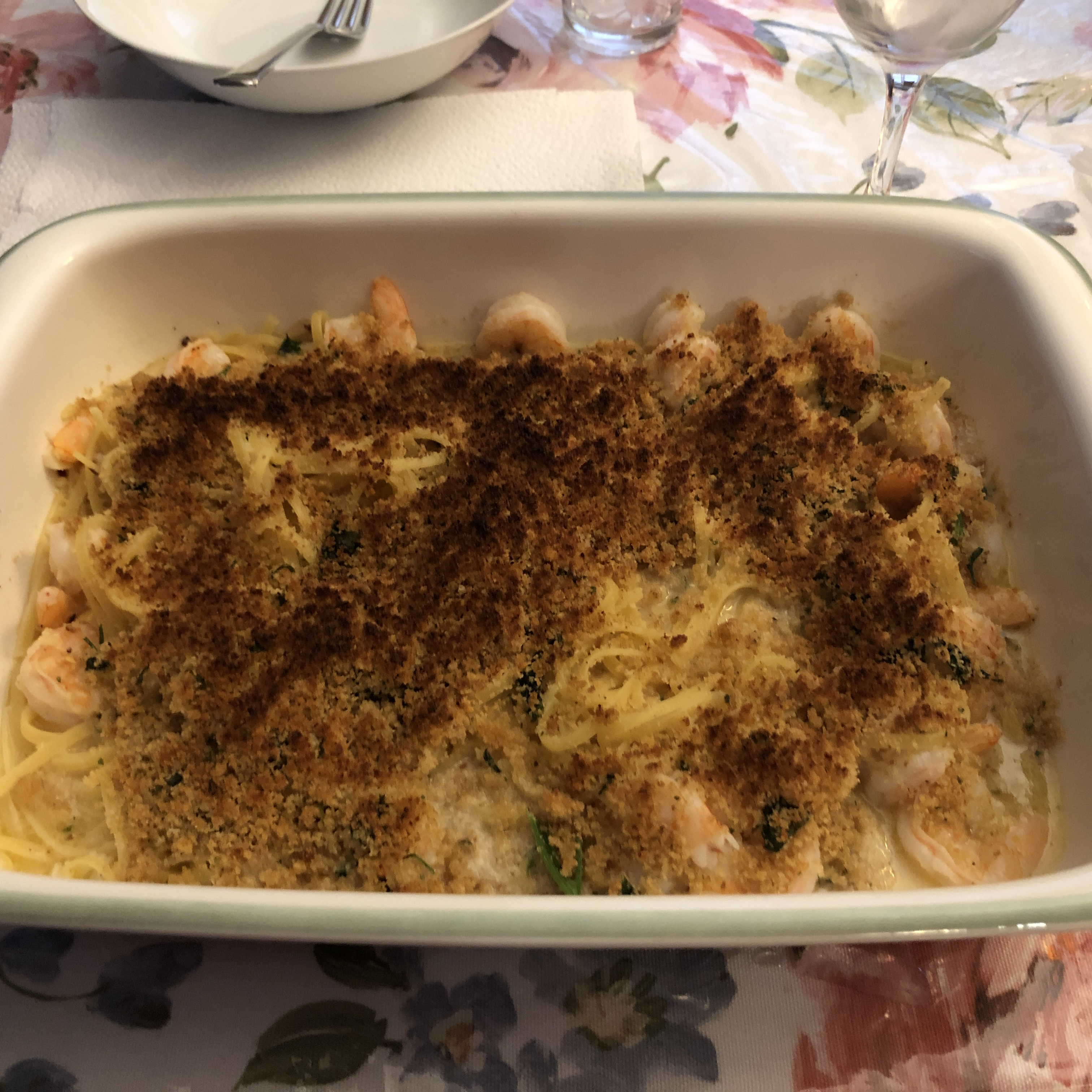 Parmesan-Crusted Shrimp Scampi with Pasta
