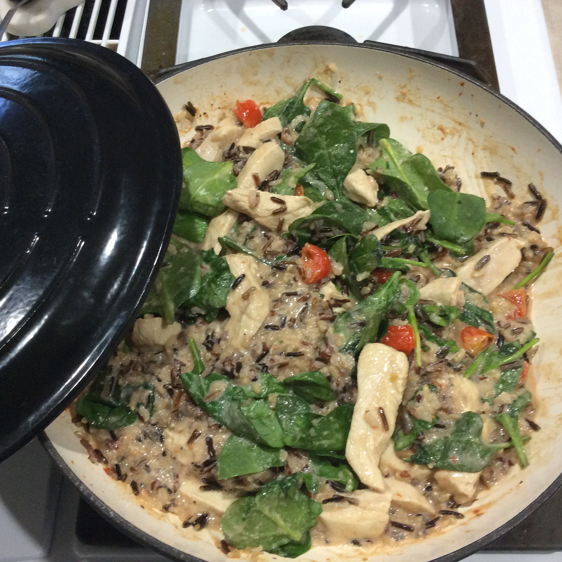 Creamy Rice, Chicken and Spinach Dinner pattiandleroy