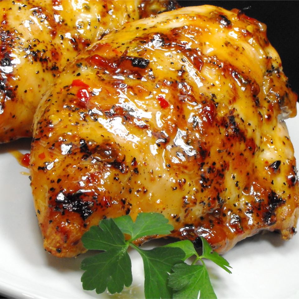 Grilled Chicken Wings with Sweet Red Chili and Peach Glaze bellepepper