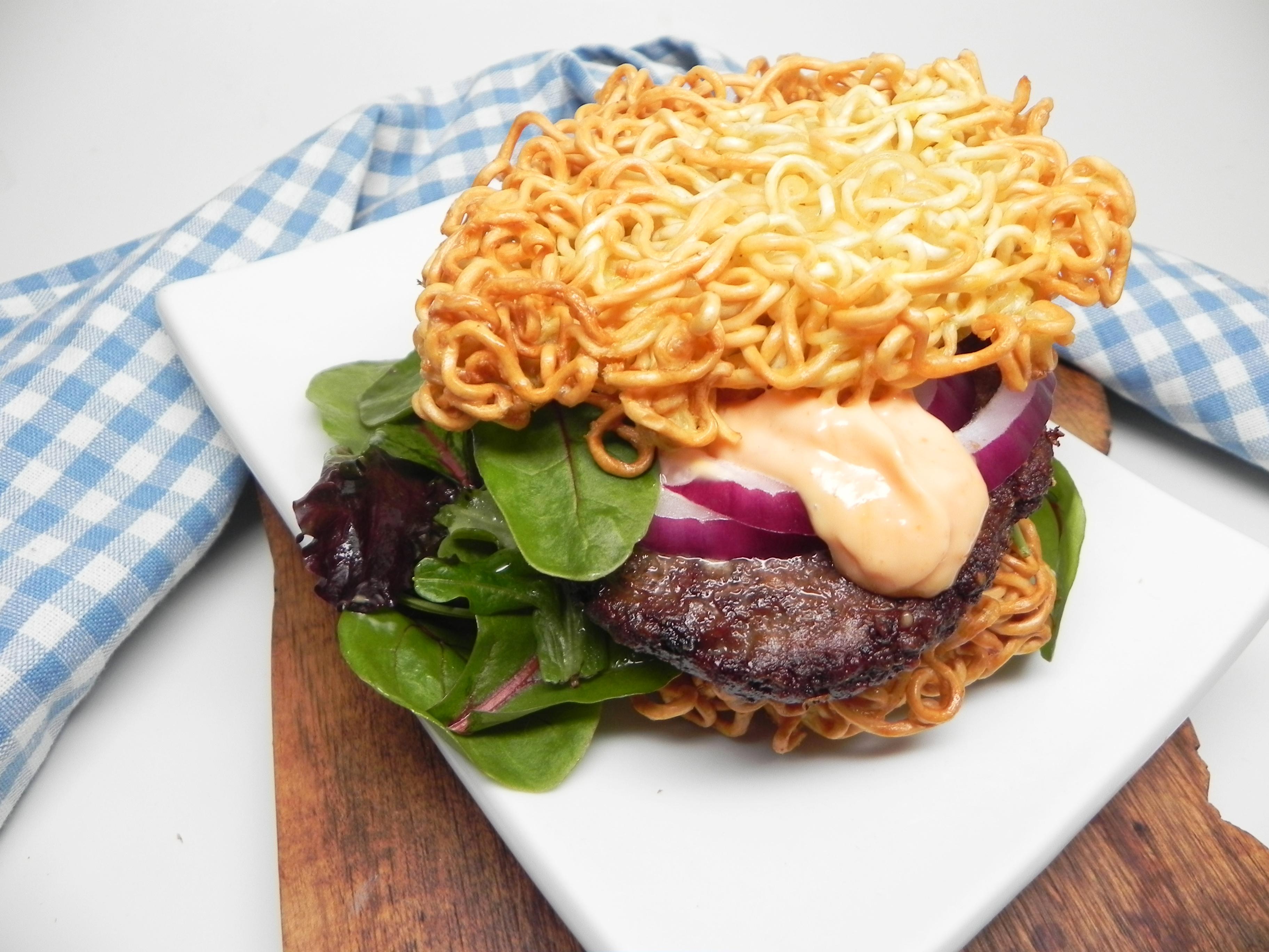 Air Fryer Ramen Bun Burger for One
