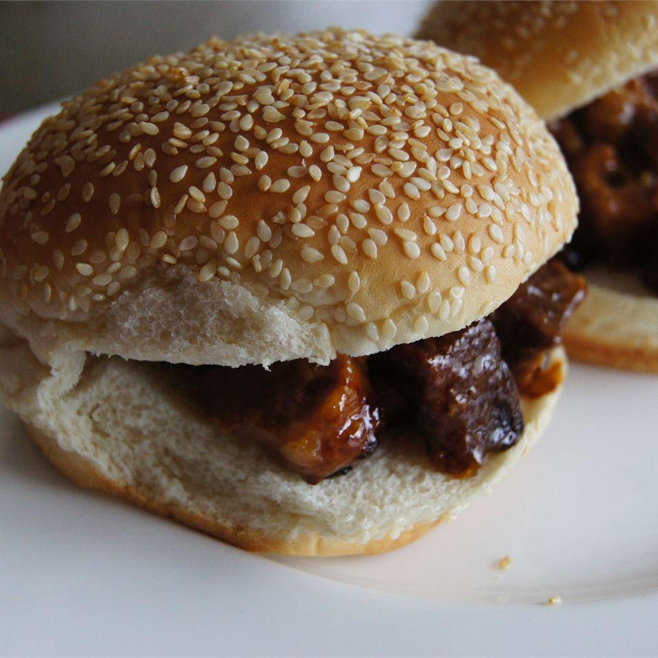 Slow Cooker BBQ Flat Iron Steak Sandwiches