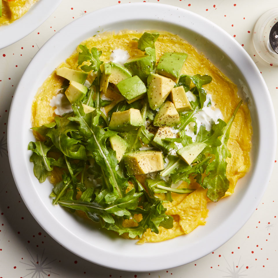 Add some greens and healthy fat to your breakfast when you top an omelet with arugula and avocado. Serve with crusty whole-grain toast, if desired. Source: EatingWell Magazine, September/October 2017