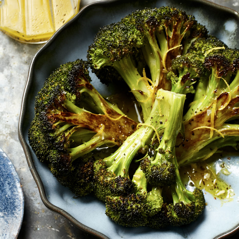 Resist the temptation to turn the broccoli over while it roasts in this easy recipe. Leaving it cut-side down means you'll get deliciously caramelized results.