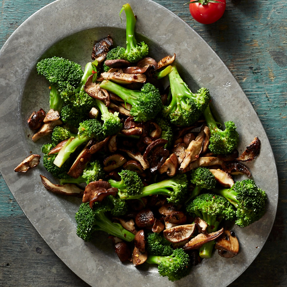 Just a touch of butter adds silkiness to the balsamic sauce that coats broccoli and meaty mushrooms in this easy broccoli side dish recipe.