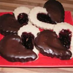 Old Fashioned Butter Valentine Cookies Dipped in Chocolate