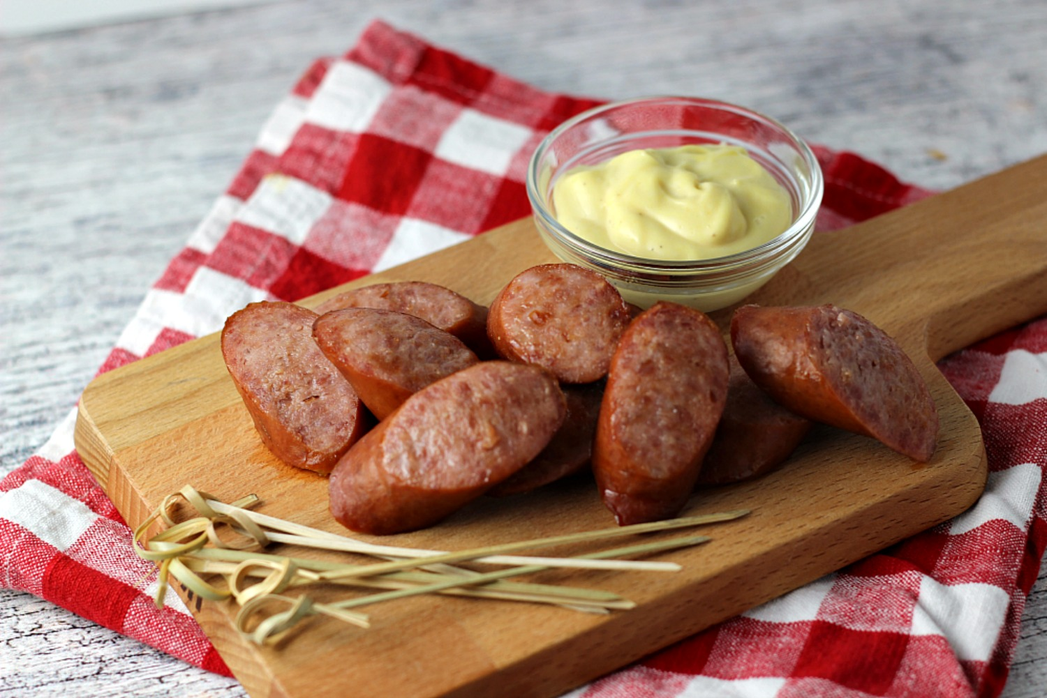 Snack Dippers with Hillshire Farm® Smoked Sausage and Honey Mustard ReneePaj